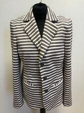 G198 WOMENS NESS BROWN WHITE STRIPED COTTON 3 BUTTON BLAZER JACKET UK 16 BNWT