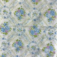 "Vintage Fabric Remnant Cotton Lightweight Floral Blue Pink 38"" x 32"""