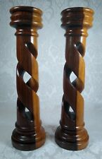Vintage Heavy Carved Wood Two-Tone Candle Holders Barley Twist Set of 2