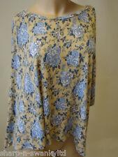 ☆ Ladies Beige/Blue Flower Print Oversized Top UK 10-12 EU 38-40 ☆