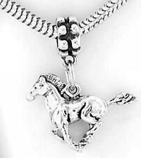 SILVER SOLID STALLION MUSTANG HORSE DANGLE BEAD