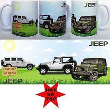 JEEP MUG, 4x4 Thee Jeeps on a ceramic mug. Can be a personalised mug