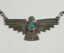 Unique Native American Sterling Silver Turquoise Thunderbird Necklace