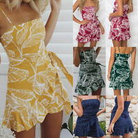 Women' Ruffle Skater Short Mini Dress Summer Holiday Beach Party Wrap Sundress