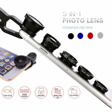 Universal 5in1 Clip On Camera Lens Kit Wide Angle Fish Eye Macro For Smart Phone