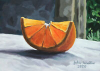 Original Still Life Painting - Slice of Orange - (5 x 7 inch) by John Wallie