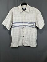 VTG  No Fear Button Up Shirt Men Medium Creamy White & Blue Plaid Short Sleeve