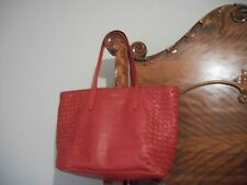 Red Cole Haan Woven & Smooth Leather Tote Shoulder Hand Bag Purse