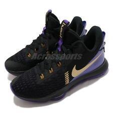 Nike Lebron testigo 5 EP V James LAKERS VIOLETA ORO Hombres Zapatos CQ9381-001 Negro