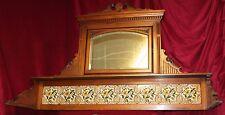 Antique Eastlake Carved Hall Tree Pediment Shelf with Beveled Mirror & Tiles