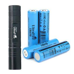 UltraFire Mini Flashlight with 4PCS BRC 3.7v 18650 2200mAh Rechargeable Battery
