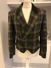 Country Casuals Green Wool Check Double Breasted Blazer Size 12
