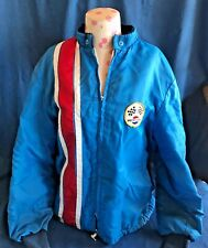 Vintage 1970 Pepsi Employee Blue Full Zip Lined Logo Truck Driver Jacket Patches