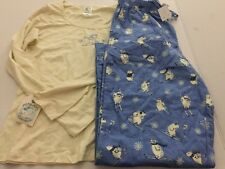 Munki Munki Nite Nite Pajama Polar Bears Skiing Size Large L 2pc Set Top Bottom