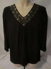Susan Graver Style Black Embellished V-Neck Blouse Shirt - Women's Large - H326