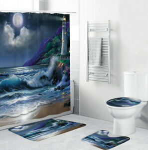 Lighthouse Bathroom Rug Set Shower Curtain Thick Soft Bath Mat Toilet Lid Cover