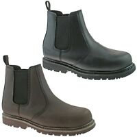 MENS GRAFTERS BLACK OR BROWN LEATHER SAFETY CHELSEA DEALER WORK BOOTS M539 KD