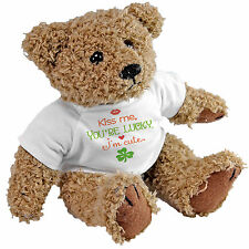 Kiss Me You're Lucky I'm Cute Bear - St Patricks Day Irish Gift Teddy