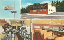 1940s Portland Oregon Fish n Chips Cafe Seafood Restaurant Roadside Postcard