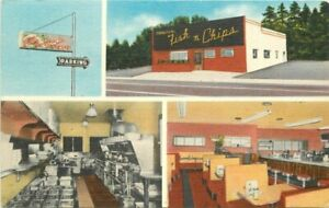 1940s Portland Oregon Fish n Chips Cafe Seafood Restaurant Roadside Postcard