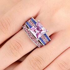 Princess Cut Pink Topaz Gem Wedding Band Rings Set 10KT white Gold Filled Size 8