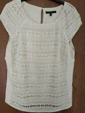 Ladies Coast Nude Top Lace Size 16 Short Sleeve Summer