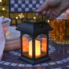 More details for 15cm solar power outdoor led flameless flickering hanging candle lantern garden