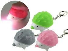 Hedgehog Key Chain Ring with LED Light and Animal Sound Lovely Keychains