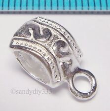1x STERLING SILVER BRIGHT FLOWER SLIDE PENDANT CONNECTOR BEAD N601