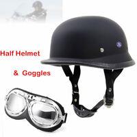 German Black ABS Motorcycle Half Face Helmet Biker Pilot Goggles M/L/XL Part