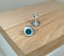 Silver Hex Nut Stud Earrings With Green Purple Pearl Acrylic Inlay ~ Handmade