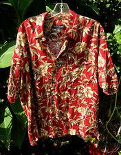 "TORI RICHARD ""Red Ferns"" Coral Green Logo LG SS Hawaiian/Camp Style Shirt"