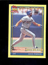 1991 Topps DAVE PARKER Milwaukee Brewers Box Bottom Card Rare