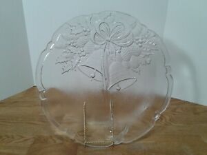 """Clear Thick Glass Bells Christmas 15"""" Round Serving Plate Cookie Platter Tray"""