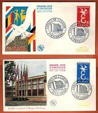 1958 -2 Enveloppes -FDC 1°JOUR!!**Conseil de l'Europe - Europa -TIMBRE Yt.1173/4