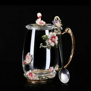 Coffee Cup Mug Flower Tea Glass Cups Beauty And Novelty Enamel for Hot and Cold