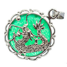 Chinese Emerald Green Jade Jadeite 18K White Gold Plated Dragon Pendant #032