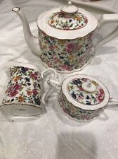 3pc Grace TeaWare teapot, Creamer &Sugar Bowl ,Flowers +Gold Trim-new,free Ship