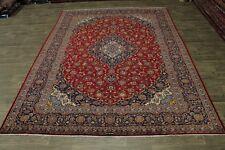 Fine Handmade Vintage Signed Red Kashan Persian Area Rug Oriental Carpet 10X13