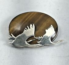 Beautiful LAH Sterling & Tigers Eye Large Flying Bird Pin/Brooch