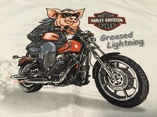 Vintage Harley Davidson Hog Greased Lightning 100% Cotton T Shirt. Size M