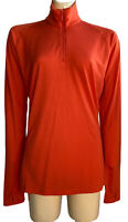 SUPER.NATURAL Women Medium 1/4 Zip Long Sleeve Base Layer High Neck Top Orange