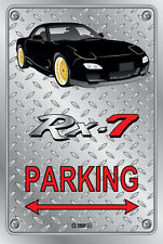 Parking Sign Metal Mazda RX-7 Series 6 - Black with Gold Rims - Checker Look
