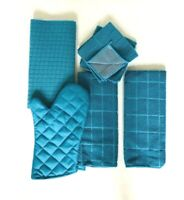 Kitchen Towel Set of 6 Drying Mat Oven Mitt 2 Hand Towels 2 Dishcloths Turquoise