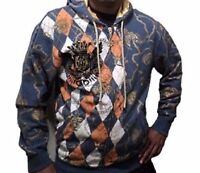 Men's Christian Audigier Ed Hardy Argyle & Chains  Hoodie Jacket Coat  Size 2XL