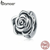BAMOER Authentic 925 Sterling silver Charm Bead The rose & CZ Fit Women Bracelet