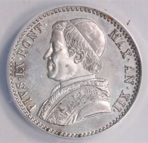 1858 R Papal States YRXII Silver 20 Baiocchi AU 58 ANACS 197I