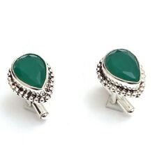 Silver Plated Faceted Created Emerald Gemstone Cufflinks Jewelry 1 j212