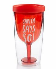 Celebrate Shop Santa Says So Travel Wine Tumbler with Drinking Lid Red