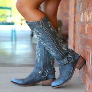 Women's Faux Leather Embroidered Zipper Buckles Knee High Cowboy Boots Shoes